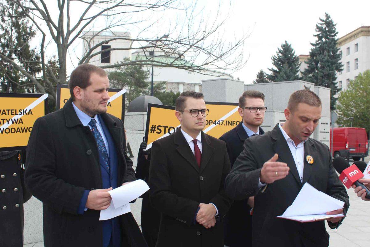 Jest obywatelska inicjatywa ustawodawcza STOP 447. Roty Niepodległości zbierają podpisy