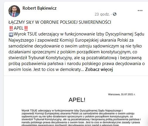 Apel o współpracę w obronie polskiej suwerenności